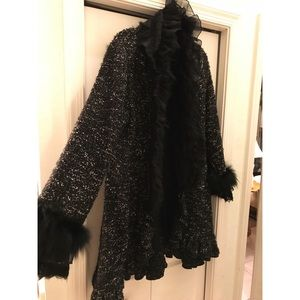 Dolce Cabo Heavy Knit Sweater/Cape with Fur Lining